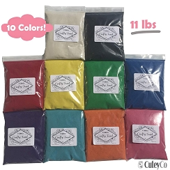 CuteyCo Crafty Sand Pack - 10 Colors: 11 lbs of Vibrant Craft Sand & Play Sand