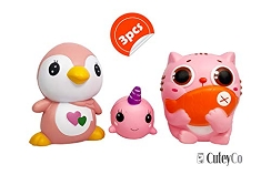 CuteyCo Squishy Toys – Set of 3 Squishies for Play and Stress Relief