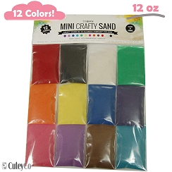 CuteyCo Mini Crafty Sand - 12 Colors: 12oz of Vibrant Craft Sand & Play Sand