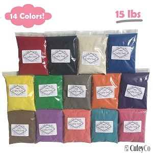 CuteyCo Crafty Sand Pack - 14 Colors: 15 lbs of Vibrant Craft Sand & Play Sand